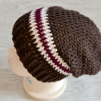 1 Year - 2 Year Unisex Brown, Plum and Cream Slouchy Beanie