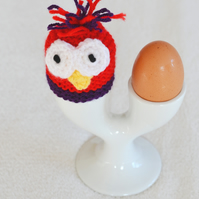 Purple and Bright Red Knitted Egg or Cream Egg Cozy