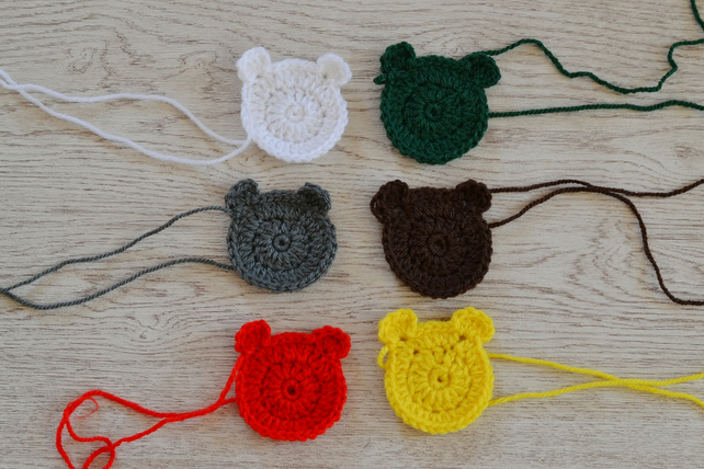 6  Crochet Teddy Bear Applique Motifs