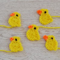 5  Crochet Duck, Chicks Applique Motifs