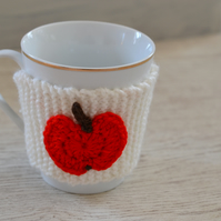 Teachers Gift End of Year Knitted Apple Mug Hug or Coffee Cosie