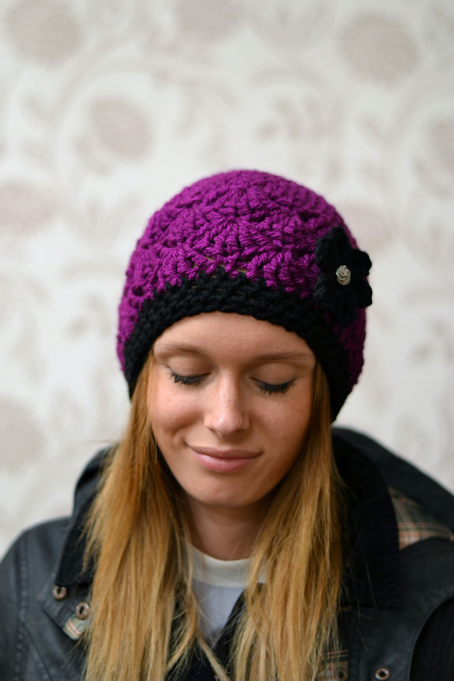 Womens Purple Beanie Hat, Warm Chunky Hat, Crocheted with Flower