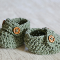 Boys  Newborn Crochet Sage Green Loafer Baby Shoes