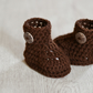 Brown Newborn Unisex Crochet Baby Boots