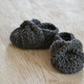 Grey Newborn Baby Girls Bow Shoes
