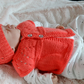 Newborn Salmon Pink Knitted Sleeveless Cardigan and Hat Set