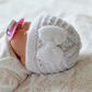White Prem, Early Baby Reborns Knitted Bow Hat