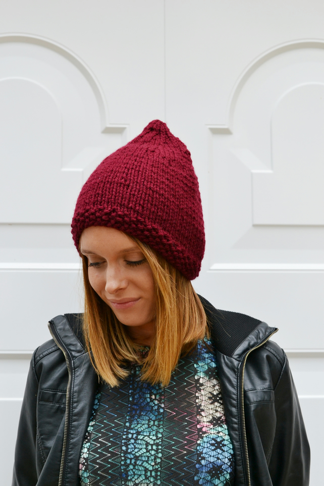 Womens Burgundy  Pixie Hat, Knit Hat, Beanie Hat, Festival Hats,