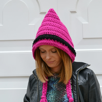 Women HotPink Chunky Pixie Hat,  Hood , Festival Hat, Hippy Hat