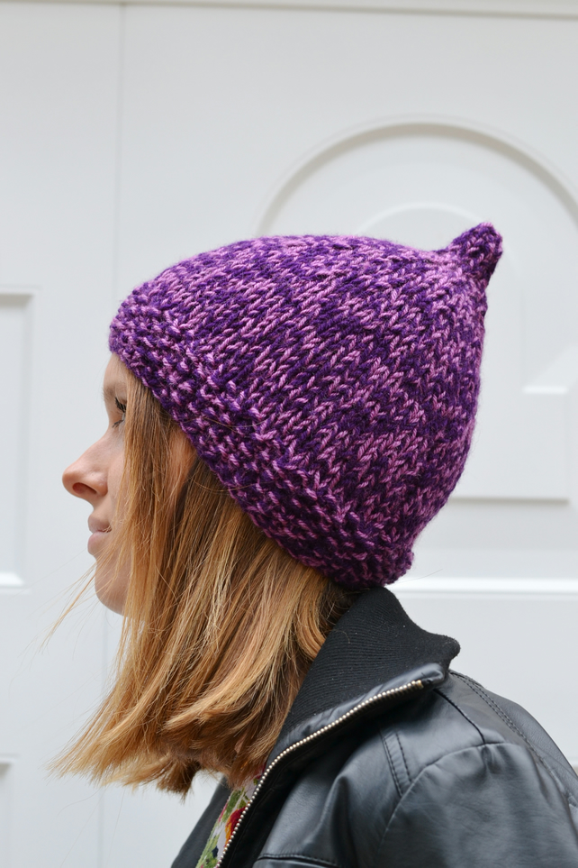 Pixie Hat Knitted Hat Elf Chunky Ready to Ship Winter Hat Heather Plum