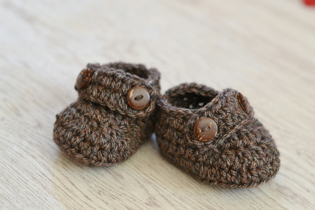 Boys  Newborn Crochet  Brown Tweed Loafer Baby Shoes