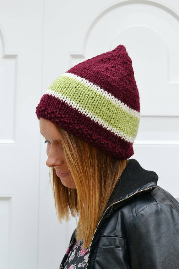 Pixie Hat Knitted Hat Elf Chunky,