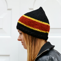 Womens Knitted Black, Rust Mustard Pixie Hat