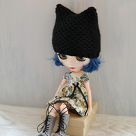 Dolls Black Knitted Cat Hat