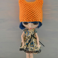 Dolls Orange Knitted Cat Hat