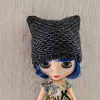 Dolls Charcoal Knitted Cat Hat