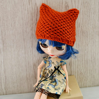 Dolls Rust Knitted Cat Hat