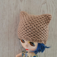 Dolls Light Beige Knitted Cat Hat