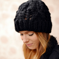 Black Womens Super ChunkyDiamond Pattern Knitted Beanie Hat 24 Other Colour
