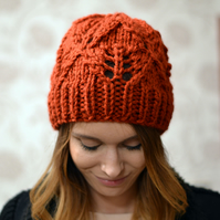Rust Womens Super ChunkyDiamond Pattern Knitted Beanie Hat