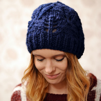 Navy Womens Super Chunky Diamond Pattern Knitted Beanie Hat