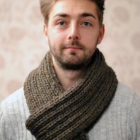 Unisex Super Chunky Ribbed Knitted Scarf