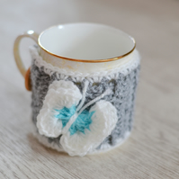 Crocheted Butterfly Mug Hug or Coffee Cosie
