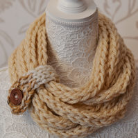 Knitted Chunky Rope Cowl Infinity Neckwarmer Scarf