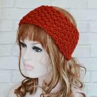 Womens Rust Chunky Knit Cable Headband, Wide Headband, Earwarmer