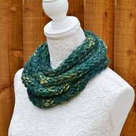 Knitted Green Multi Super Chunky Rope Scarf Cowl Neck warmer