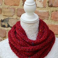 Knitted Ruby Flecked Super Chunky Rope Cowl Neck warmer