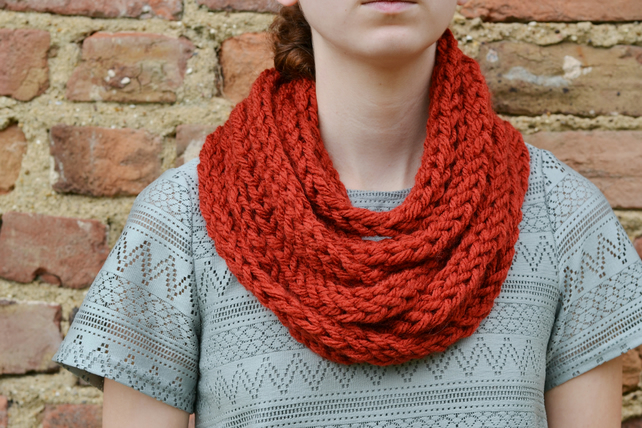 Womens Rust Super Chunky Finger Knitted  Scarf, Neckwarmer, Cowl , 24 Colours