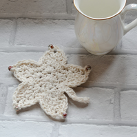 100% Cotton Maple Leaf Crochet Mug Drinks Coaster