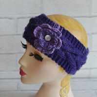 Womens Purple and Lilac Chunky Knit Cable Headband, Wide Headband, Earwarmer