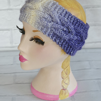 Lilac, Purple and Cream Chunky Knitted Cable Headband Earwarmer