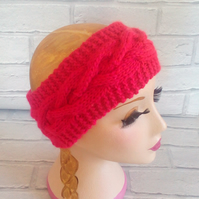 Red and Cerise Chunky Knitted Cable Headband Earwarmer