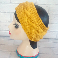 Mustard Knitted Headband Ear, Cable Adult Warmer Chunky Knit Hairband