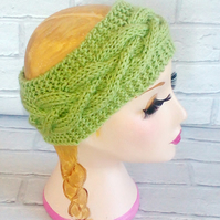 Apple Green Knitted Headband Ear, Cable Adult Warmer Chunky Knit Hairband