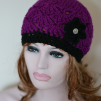 Sale  Womens Purple Beanie Hat, Warm Chunky Hat, Crocheted with Flower