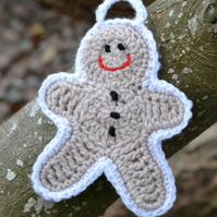 Hand Crocheted Gingerbread Man Xmas Decoration