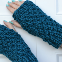 Petrol Super Chunky Knitted Fingerless Gloves