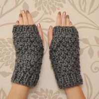 Dark Grey Super Chunky Knitted Fingerless Gloves