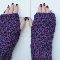 Knitted Super  Chunky Fingerless  Gloves in Heather Shade