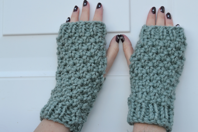 Knitted Super Chunky Warm Fingerless Gloves, Hand Warmers