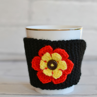 Black Knitted Flower Mug Hug