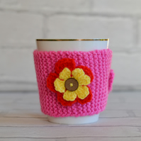 Candy Pink Knitted Flower Mug Hug