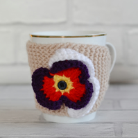 Pansy Flower Knitted Flower Mug Hug
