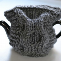 1-2 Cup Dark Gret Super Chunky Hand Knitted  Tea Cozy