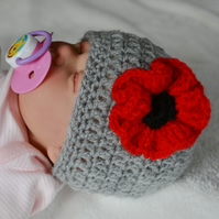 Newborn Baby Girl Grey Poppy Flower Hat,
