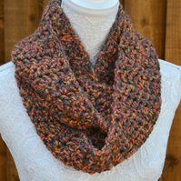 Crocheted Chunky Rope Neck warmer, Infinity Scarf